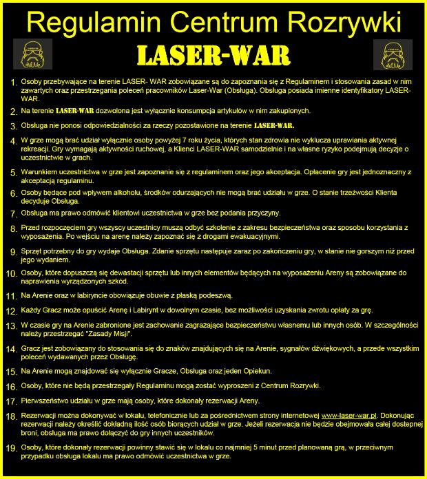 Regulamin LASER-WAR